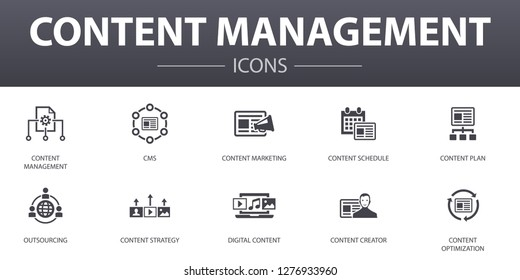 content management simple concept icons set. Contains such icons as CMS,  content marketing, outsourcing, digital content and more, can be used for web, logo, UI/UX
