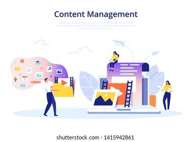 Content Management, SMM und Blogging Konzept in flachem Design. Erstellen, Marketing und Teilen von Digital - Vektorgrafik.