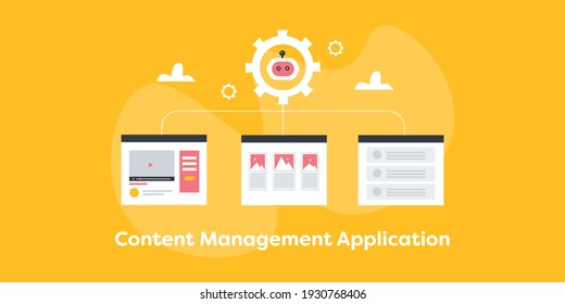 content management system, CMS software, Website managed by CMS - conceptual flat design vector illustration with icons