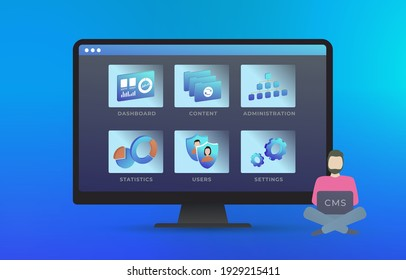 Content management system - Web site management software CMS concept. Edit design, user and configuration settings, create and publish arcticles, administration, statistics. Vector illustration