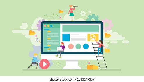 Content Management Tiny People Character Concept Vector Illustration, Suitable For Wallpaper, Banner, Background, Card, Book Illustration, Web Landing Page, and Other Related Creative