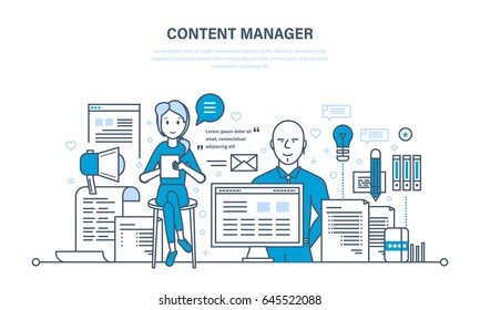 Content manager. Modern technologies, work on writing, editing, processing text and other information materials. Illustration thin line design of vector doodles, infographics elements.