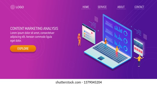Content marketing, Content analysis, Digital marketing technology, 3D, isometric vector banner
