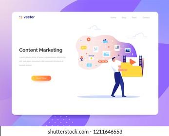 Content Marketing und Blogging Konzept in flachem Design.Ein Mann trägt einen großen Ordner mit Mediendateien. Erstellen, Marketing und Teilen von Digital - Vektorgrafik.