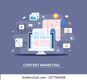 Content Marketing, Blogging and SMM concept in flat design. Web page fill out with content. articles and media materials uploading process. Creating, marketing and sharing of digital - vector