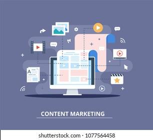 Content Marketing, Blogging und SMM Konzept in flachem Design. Die Webseite ist inhaltlich ausgefüllt. Upload von Artikeln und Medienmaterialien. Schaffung, Vermarktung und gemeinsame Nutzung digitaler Inhalte - Vektorgrafik