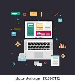 Content Marketing. Blogging and SMM concept in flat design. Vector illustration.