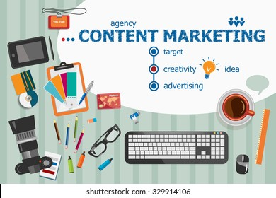 Content marketing design and flat design illustration concepts for business analysis, consulting, team work, project management. Content marketing concepts for web banner and printed materials.