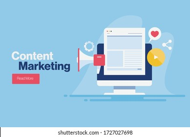 Content marketing, Digital advertising, Website marketing, Social media marketing - conceptual flat design vector illustration with icons and texts