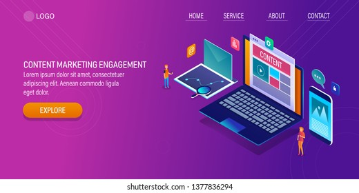 Content marketing, Content engagement, People engaged with content concept, 3D, isometric vector banner