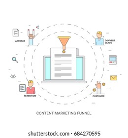 Content marketing funnel, on-line lead generation, conversion, marketing funnel, flat vector illustration with marketing icons
