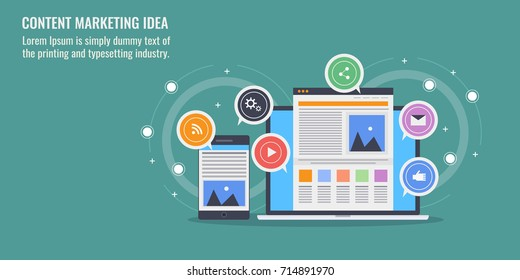 Content marketing idea, content promotion, article marketing flat vector banner illustration with icons isolated on green background