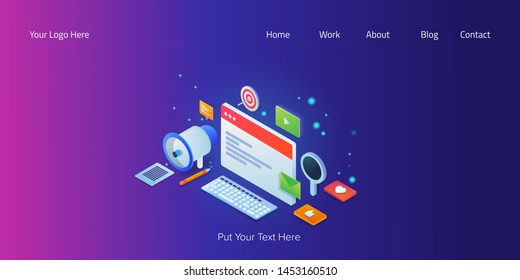 Content marketing illustration, Content advertising, isometric, 3D, vector conceptual banner with marketing icons