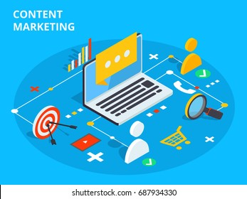 Content marketing isometric vector concept illustration. Business sell strategy and social media customer research. E-commerce or online shopping target search.