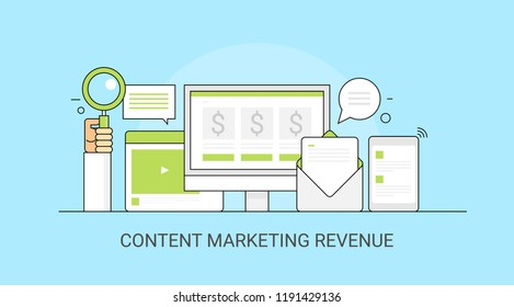Content marketing revenue - digital marketing - Business search optimization flat vector illustration