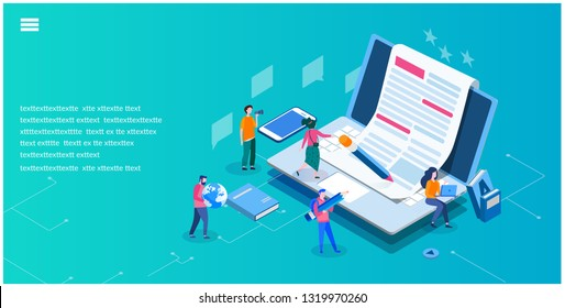 Content Marketing. SEO infographic, Blogging and SMM, creative commercial   blog post, Blogger character, vector illustration, Concept for web page, banner, presentation, social media, documents, card
