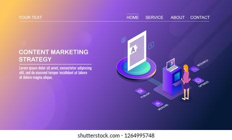 Content marketing strategy, digital content engagement, Social media content flat design 3D isometric template