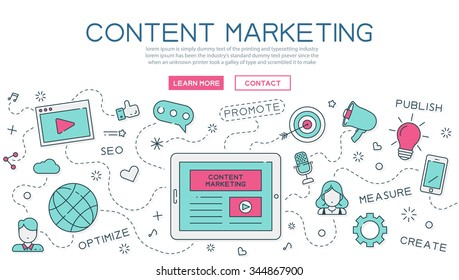 Content, marketing for website banner and landing page , eps10 vector format