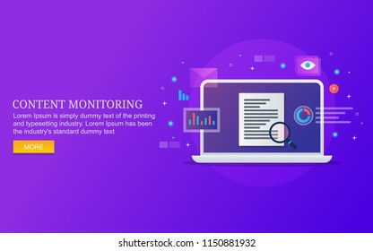 Content monitoring, content performance analysis flat design vector banner with icons and texts