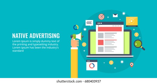 Content for native advertising flat vector banner