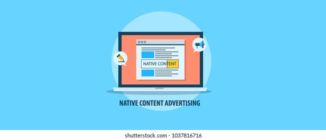 Content on laptop screen, native content advertising, content marketing flat vector illustration