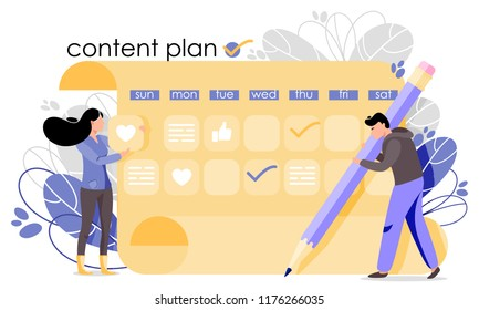 Content plan vector illustration. Concept of content strategy for social media marketing advertising, blogging, media planning, promotion in social network in flat style