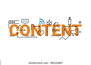 Content word lettering typography design with line icons and ornaments in orange theme