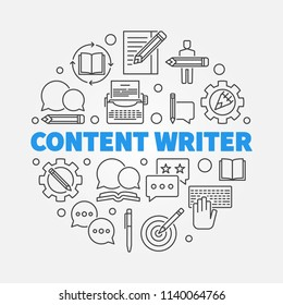 Content writer vector round illustration made with outline icons