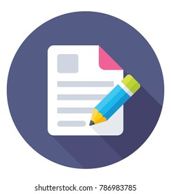 Content Writing Flat Colored Icon