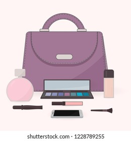 The contents of a woman's bag. Purse, perfume, cosmetics and mobile phone. Vanity table. Concept of beauty bloggers, fashion and glamour. Easy to edit vector design for social media, etc.