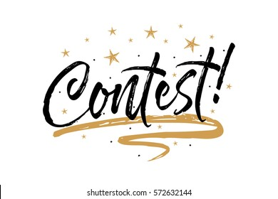 Contest images stock photos vectors shutterstock contest card bannerautiful greeting scratched calligraphy black text word gold starshand m4hsunfo
