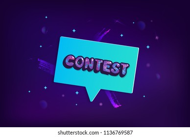 Contest card with geometric composition. Dark banner with speech bubble and handwritten text. Vector illustration.