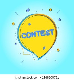 Contest card with speech bubble and decoration