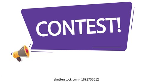 Contest icon message notice vector concept flat cartoon, megaphone with loud bubble speech and competitiontext promotion or advertising modern design