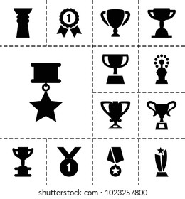 Contest icons. set of 13 editable filled contest icons such as trophy, number 1 medal