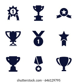 Contest icons set. set of 9 contest filled icons such as trophy, number 1 medal