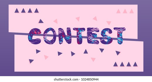 Contest lettering. Horizontal contest banner. Element for graphic design - poster, flyer, brochure, card. Template for social media. Vector Illustration.
