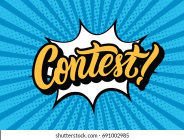 Contest lettering text banner. Vector illustration.