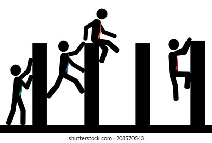 A contest of obstacles between men. It is a stick figure vector.