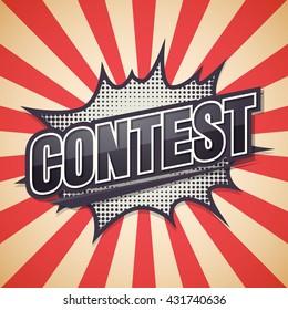Contest, Retro poster, Vector illustration.