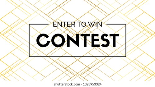 Contest vector elegant banner with frame. Enter to win.