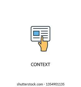 context concept 2 colored line icon. Simple yellow and blue element illustration. context concept outline symbol design