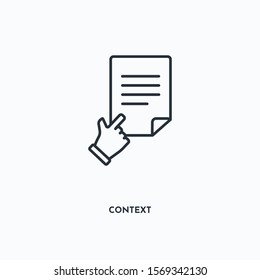 context outline icon. Simple linear element illustration. Isolated line context icon on white background. Thin stroke sign can be used for web, mobile and UI.