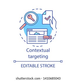Contextual targeting concept icon. Copywriting, SEO keywording. Marketing campaign. Social network advertising. Marketing idea thin line illustration. Vector isolated outline drawing. Editable stroke