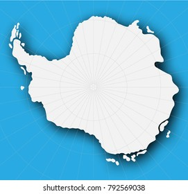 Continent of Antarctica. Contour card background. Vector illustration.