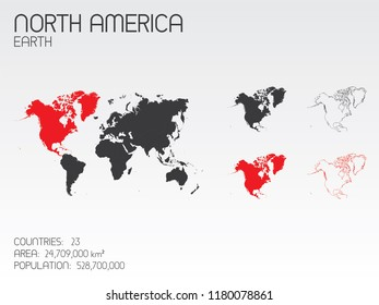 A Continent Shape Illustration of North America