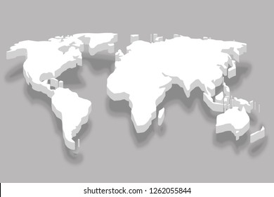 continent white 3d world map business infographic design vector illustration