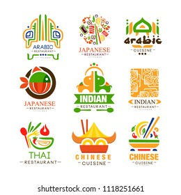 Continental cuisine logo design set, Arabic, Japanese, Thai, Chinese, Indian authentic traditional continental food labels vector Illustrations