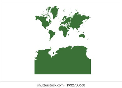 Continents With Antarctica Map Green Color on White Backgound