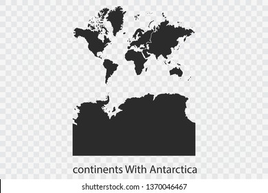 continents With Antarctica map vector, isolated on transparent background